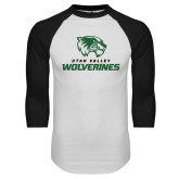 White/Black Raglan Baseball T Shirt-Utah Valley Wolverines Logo