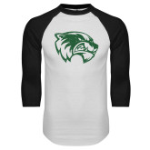 White/Black Raglan Baseball T Shirt-Wolverine Logo Distressed