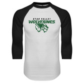 White/Black Raglan Baseball T Shirt-UVU Wolverines Distressed