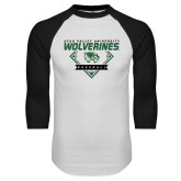 White/Black Raglan Baseball T Shirt-UVU Baseball