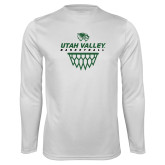Performance White Longsleeve Shirt-Wolverines Basketball