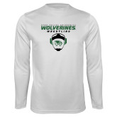 Performance White Longsleeve Shirt-Wolverine Wrestling