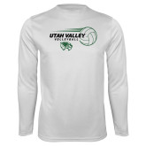 Performance White Longsleeve Shirt-Wolverine Volleyball