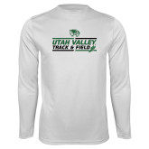 Performance White Longsleeve Shirt-Wolverines Track & Field
