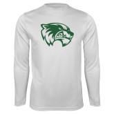 Performance White Longsleeve Shirt-Primary Logo