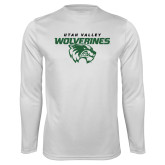 Performance White Longsleeve Shirt-Secondary Logo