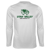 Performance White Longsleeve Shirt-Utah Valley University