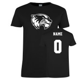 Ladies Black T Shirt-Primary Logo, Custom Tee w/ Name and #