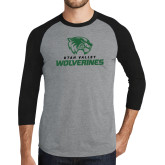 Grey/Black Tri Blend Baseball Raglan-Utah Valley Wolverines Logo