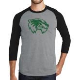 Grey/Black Tri Blend Baseball Raglan-Wolverine Logo Distressed
