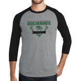Grey/Black Tri Blend Baseball Raglan-UVU Baseball