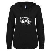 ENZA Ladies Black V Notch Raw Edge Fleece Hoodie-Primary Logo