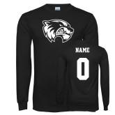 Black Long Sleeve T Shirt-Primary Logo, Custom Tee w/ Name and #