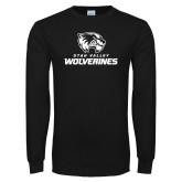 Black Long Sleeve T Shirt-Utah Valley Wolverines Logo