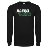 Black Long Sleeve T Shirt-Bleed Green