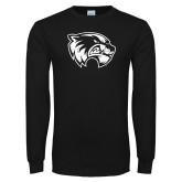 Black Long Sleeve T Shirt-Wolverine Logo Distressed