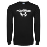 Black Long Sleeve T Shirt-UVU Wolverines Distressed