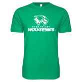 Next Level SoftStyle Kelly Green T Shirt-Utah Valley Wolverines Logo