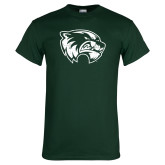 Dark Green T Shirt-Wolverine Logo Distressed