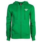 ENZA Ladies Kelly Green Fleece Full Zip Hoodie-Secondary Logo