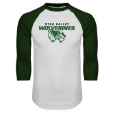 White/Dark Green Raglan Baseball T Shirt-Secondary Logo