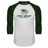 White/Dark Green Raglan Baseball T Shirt-Utah Valley University
