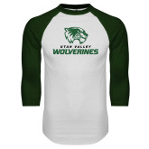 White/Dark Green Raglan Baseball T Shirt-Utah Valley Wolverines Logo