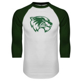 White/Dark Green Raglan Baseball T Shirt-Wolverine Logo Distressed