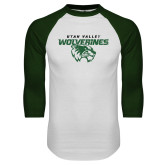 White/Dark Green Raglan Baseball T Shirt-UVU Wolverines Distressed