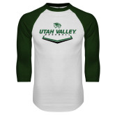 White/Dark Green Raglan Baseball T Shirt-Wolverines Baseball