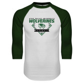 White/Dark Green Raglan Baseball T Shirt-UVU Baseball
