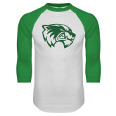 White/Kelly Green Raglan Baseball T Shirt-Primary Logo
