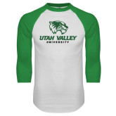 White/Kelly Green Raglan Baseball T Shirt-Utah Valley University