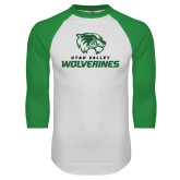 White/Kelly Green Raglan Baseball T Shirt-Utah Valley Wolverines Logo