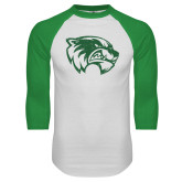 White/Kelly Green Raglan Baseball T Shirt-Wolverine Logo Distressed
