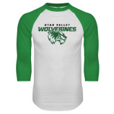 White/Kelly Green Raglan Baseball T Shirt-UVU Wolverines Distressed