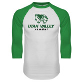White/Kelly Green Raglan Baseball T Shirt-Alumni