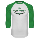 White/Kelly Green Raglan Baseball T Shirt-Wolverines Baseball