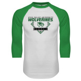White/Kelly Green Raglan Baseball T Shirt-UVU Baseball