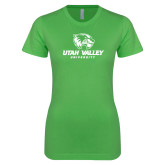Next Level Ladies SoftStyle Junior Fitted Kelly Green Tee-Utah Valley University