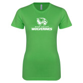 Next Level Ladies SoftStyle Junior Fitted Kelly Green Tee-Utah Valley Wolverines Logo