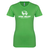 Next Level Ladies SoftStyle Junior Fitted Kelly Green Tee-Basketball