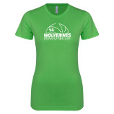 Next Level Ladies SoftStyle Junior Fitted Kelly Green Tee-UVU Basketball