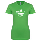 Next Level Ladies SoftStyle Junior Fitted Kelly Green Tee-Wolverines Basketball