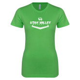 Next Level Ladies SoftStyle Junior Fitted Kelly Green Tee-Wolverines Baseball