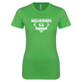 Next Level Ladies SoftStyle Junior Fitted Kelly Green Tee-UVU Baseball