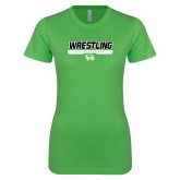 Next Level Ladies SoftStyle Junior Fitted Kelly Green Tee-UVU Wrestling