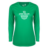 Ladies Syntrel Performance Kelly Green Longsleeve Shirt-Wolverines Basketball