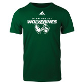 Adidas Dark Green Logo T Shirt-Secondary Logo