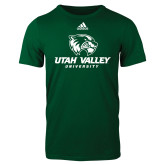 Adidas Dark Green Logo T Shirt-Utah Valley University
